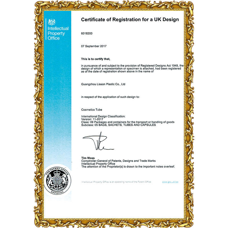 Certificate of Registration for a UK Design