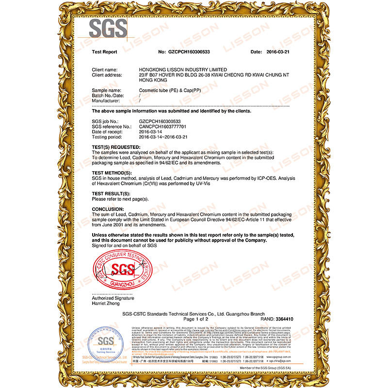 The European union SGS test report