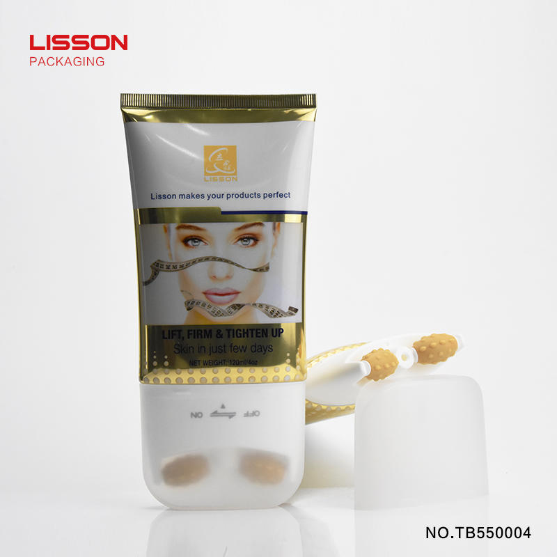 Cosmetic packaging double rollers massage tube