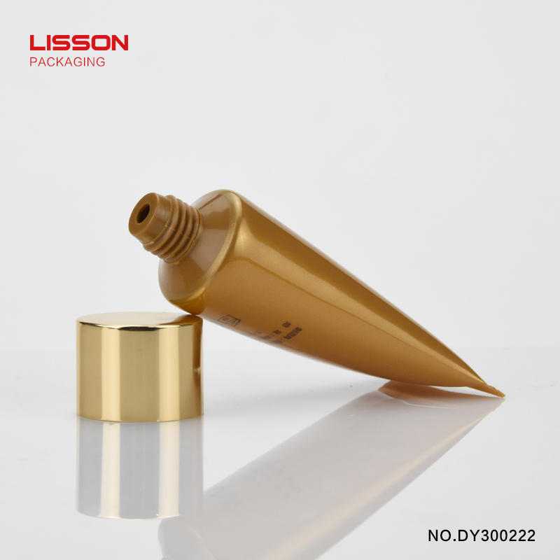 Luxury 30ml round tube with Aluminium covered golden cap