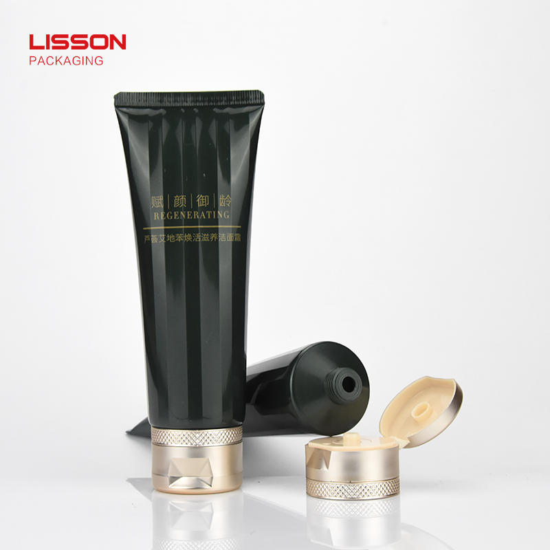 customized 120g facial wash packaging tube with convenient design flip top cap