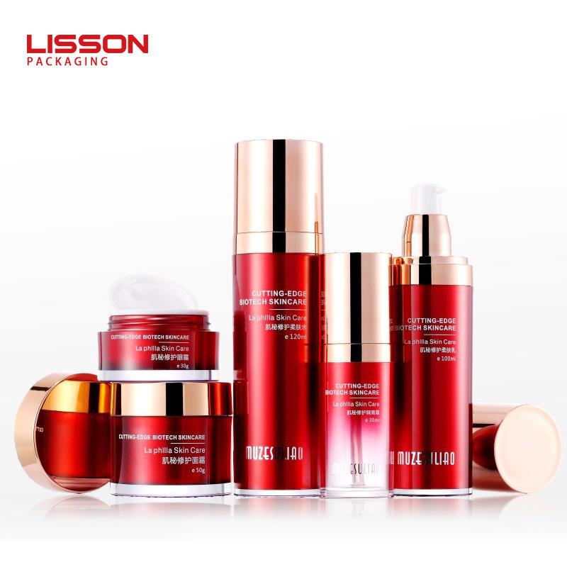 luxury red cosmetics airless pump bottles and jars set face cream jar