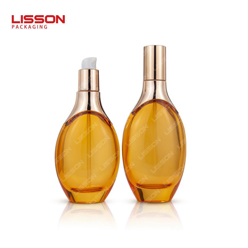 Clear Amber Unique Shape Airless Pump Cream Bottle with luxury metallic cap