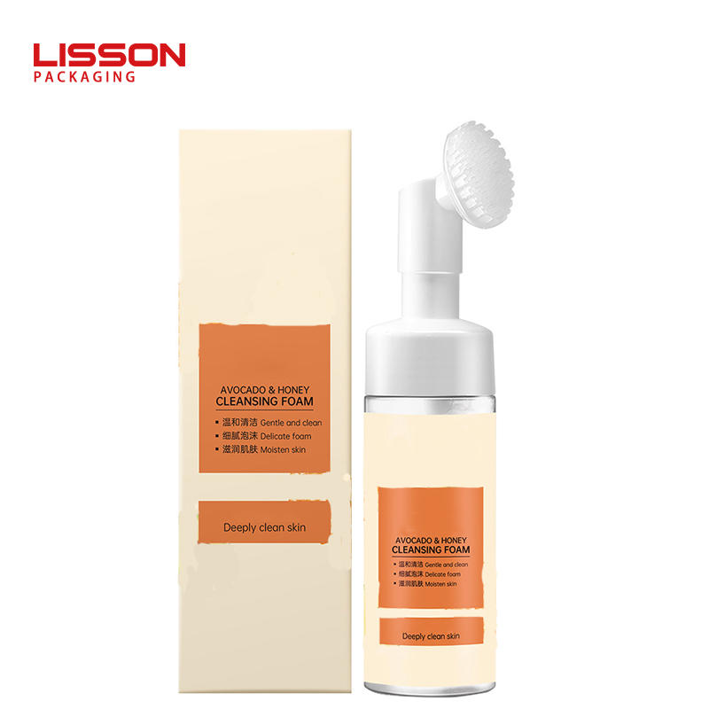 plastic foam pump facial cleanser bottle with soft silicon gel brush applicator
