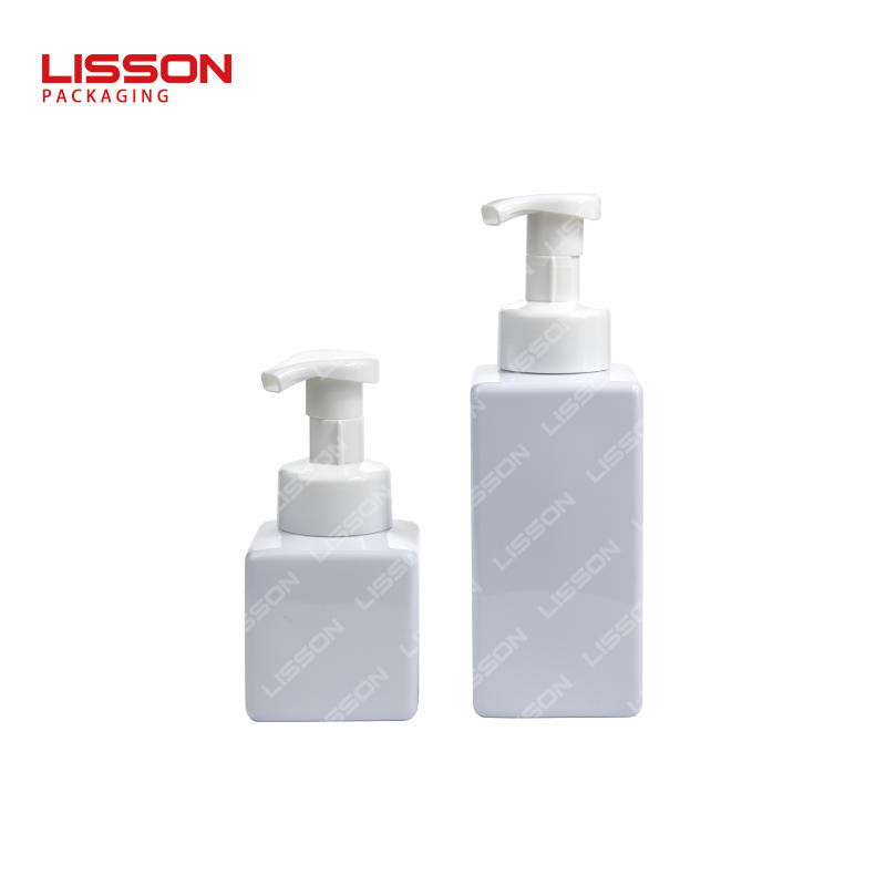 250ml 500ml  Pet Cosmetic Square Plastic Bottle With Lotion Pump Screw Cap