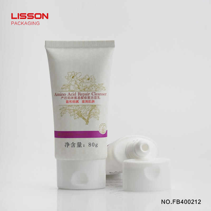 80g oval facial cleanser plastic tube with flip top cap