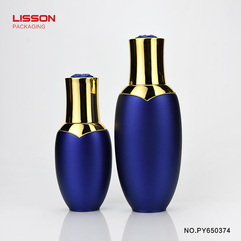 50ml luxury gold color round bottom airless cosmetic bottle